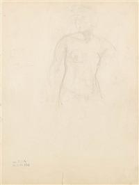 stehende (+ mann mit kerze, ink, lrgr; 2 works) by rené (victor) auberjonois
