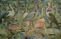 storks, cranes and flamingos by elmer livingston macrae