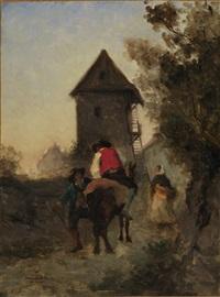 bauer auf einem pferd im gespräch mit wanderer by armand leleux