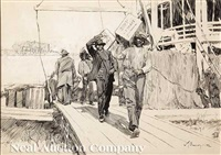 roustabouts unloading a mississippi boat by william thomas smedley