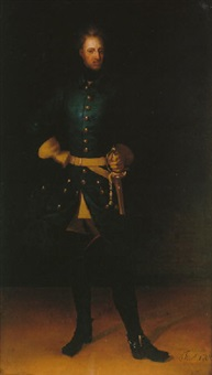 porträtt i interiör av karl xii i blå uniform, kyller samt gula kraghandskar by johann david swartz