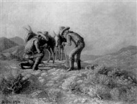 two prospectors in the desert with their donkeys by de cost smith