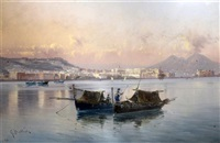 fishing boats in the bay of naples by giovanni battista