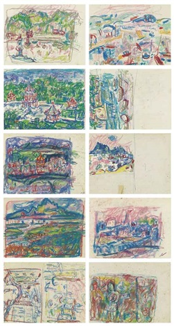 landscape sketch double sided 5 works by liao chi chun