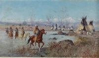 indian encampment by thomas corwin lindsay