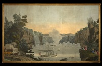 niagara falls (from vues d'amerique du nord wallpaper panels) by jean zuber