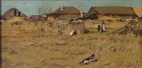 blick auf bauernhäuser mit figurenstaffage, im vordergrund eine katze by leonard (leonid) viktorovich turzhansky