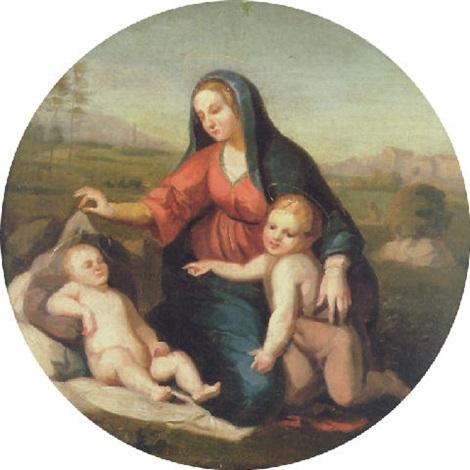 maria mit jesus und dem kleinen johannes vor einer südlichen landschaftskulisse by peter von cornelius