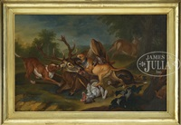 dogs attacking deer by paul de vos