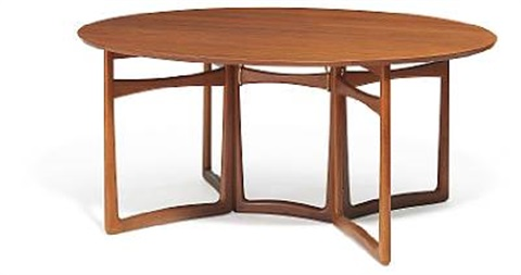 Oval Dining Table With Fold Down Ends By Orla Mlgaard Nielsen And Peter Hvidt