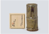 bamboo-shaped floral vase by rosanjin kitaoji