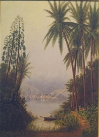 tropical river landscape (the magdalena river, columbia ?) by cleveland rockwell