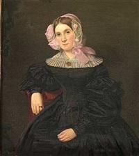 portræt af fru halske iført sort kjole med hvid blondekrave og kyse hvori roser og lyserød sløjfe by louis auguste francois aumont