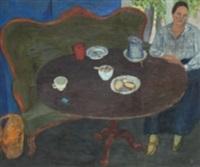 interiör med kvinnofigur by axel nilsson