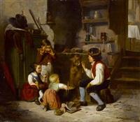 kücheninterieur mit kindern beim spiel mit puppen und füttern des hündchens by william mulready