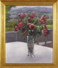 still-life with roses in a vase by vassilij filippovich levi