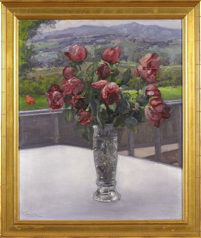 still life with roses in a vase by vassilij filippovich levi