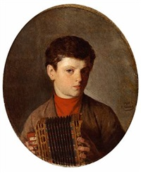 a boy with an accordion by v. sokolov