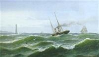 marine med damper og sejlskibe udfor kyst by johan lilliendahl