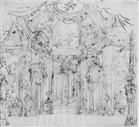 perspektivische ideenskizze für den kuppelsaal eines schlosses mit blick auf einen säulenportikus by filippo juvara