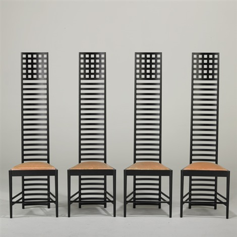 hill house chairs set of 4 by charles rennie mackintosh