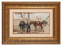 caballos en el abrevadero by josep (josé) cusachs y cusachs