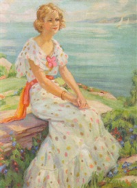 young lady by the lake shore by edna vognild