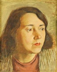 frauenportrait als schulterstück im dreiviertelprofil by julius herburger