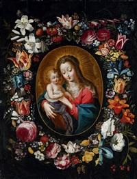 marlier_philipp madonna mit kind in einem blütenkranz by philippe de marlier
