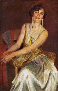 fin dame i selskabskjole med lange perlekæder, siddende i en stol by christian emil rosenstand