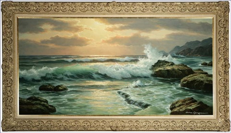 sunset and crashing waves by anton gutknecht