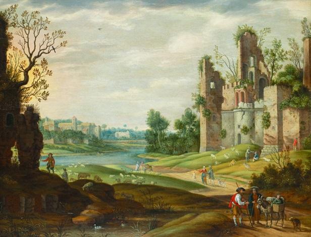 landskap med figurer by isaac van oosten