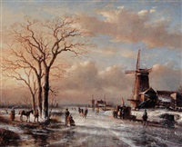 winter scene with figures enjoying themselves on the ice by gerrit hendrik gobell