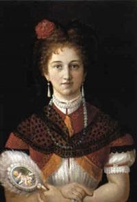 portrait einer jungen blonden dame mit stirnlocken by joseph mathäus aigner