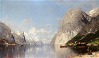 norwegian fjord in summertime by georg anton rasmussen