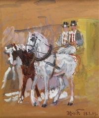 pferdegespann vor einer kutsche mit zwei kutschenlenkern mit zylinder (sketch) by hans von faber du faur