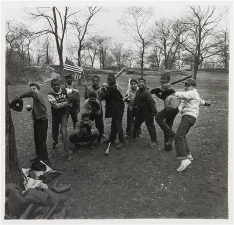 baseball game in central park, nyc by diane arbus
