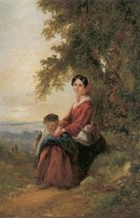kvinna och barn i sommarlandskap, aftonstämning by johan kristofer boklund