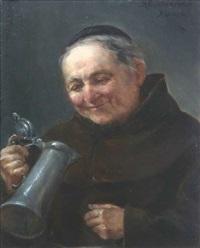mönch mit einem zinnkrug by arthur hutschenreuter