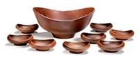 large bowl and a set of eight small bowls by finn juhl