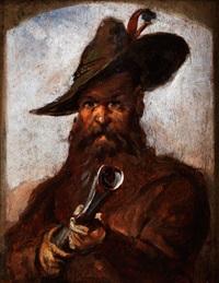 portrait eines jägers mit jagdgewehr by louis (ludwig) braun