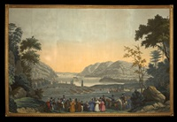 military review at west point on the hudson river (from vues d'amerique du nord wallpaper panels) by jean zuber