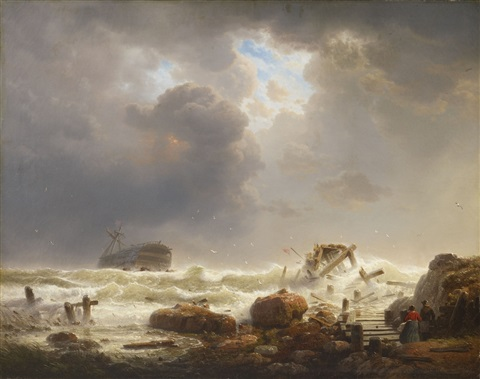 coastline with stormy sea by andreas achenbach