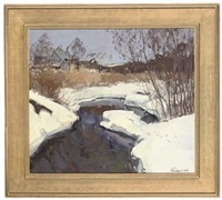 a snow covered riverbank (+ the haystack; 2 works) by leonid ignatevich vaishlya