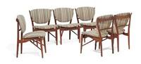 fj 51 chairs with stretchers underneath (set of 6) by finn juhl
