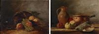 stillleben mit pfirsich und trauben (+ stillleben mit tonkrug, äpfeln und totem vogel; pair) by prudent louis leray