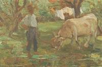 contadino con mucca che pascola by giuseppe milesi
