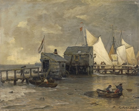 landing stage with sailing ships by andreas achenbach