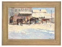 loading the sleds (+ a snow covered track; 2 works) by leonid ignatevich vaishlya