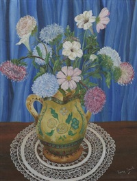 flowers in a pottery vase by patsy (pasquale) santo